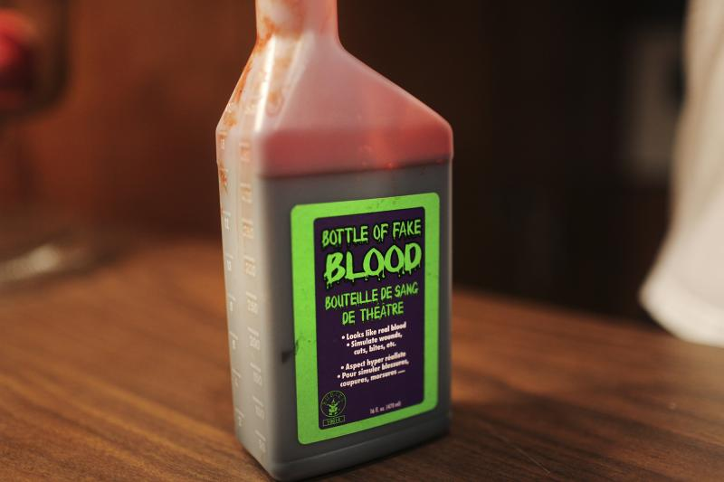 Fake blood is used on the set of The Milkman, a film by WKU student Amber Langston, in Bowling Green, KY on Sunday, October 26, 2014.