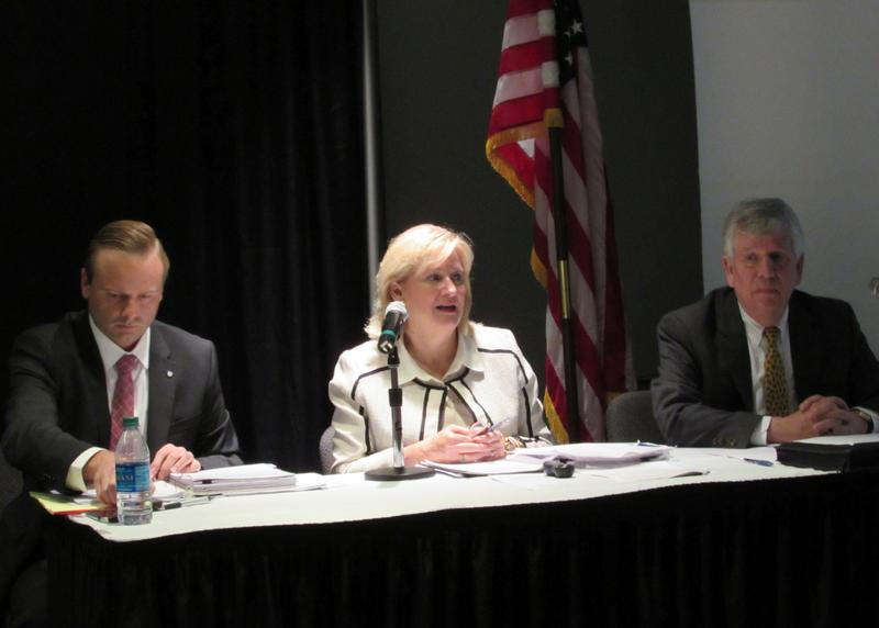 State officials offered information about the proposed changes to Medicaid. Left to right, Governor's Deputy Chief of Staff Adam Meier, Secretary of the Cabinet for Health and Family Services Vickie Yates Glisson and Medicaid Commissioner Stephen Miller.