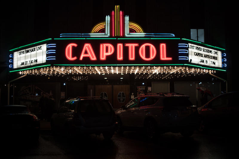 The marquee lights up the night in downtown Bowling Green