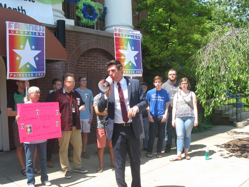 Chris Hartman of the Fairness Campaign leads a rally outside the Barren County Courthouse.