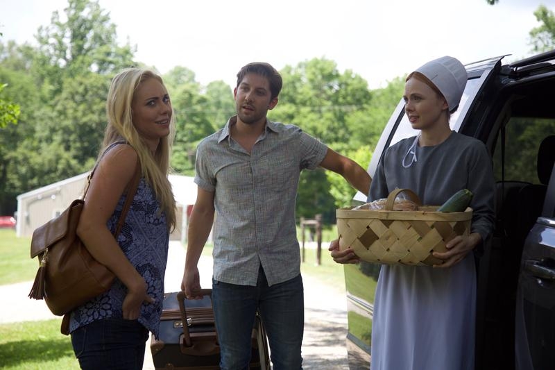 "Actors on the set of ""Runway Romance"" being filmed in Kentucky are, left to right, Danielle Chuchran, Drew Cash and Galadriel Stineman."