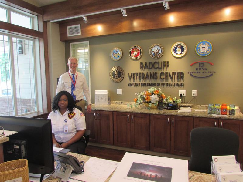 At the front desk of the Radcliff Veterans Center are Safety Officer Lashae Newby and Administrator Israel Ray.