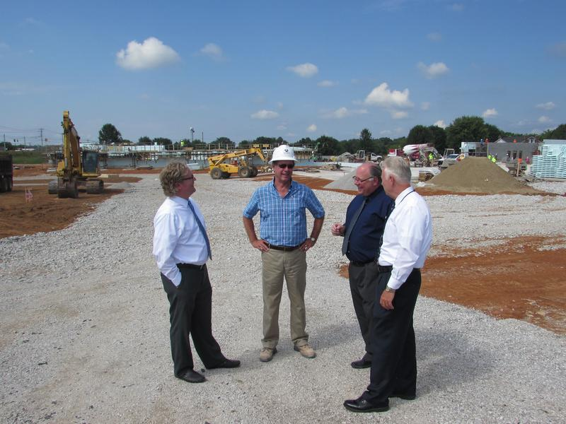At the Jennings Creek Elementary construction site are, left to right, architect  Justin McElfresh, construction manager David Butler, project architect Kenny  Stanfield and Warren County Public Schools energy manager Jay Wilson.