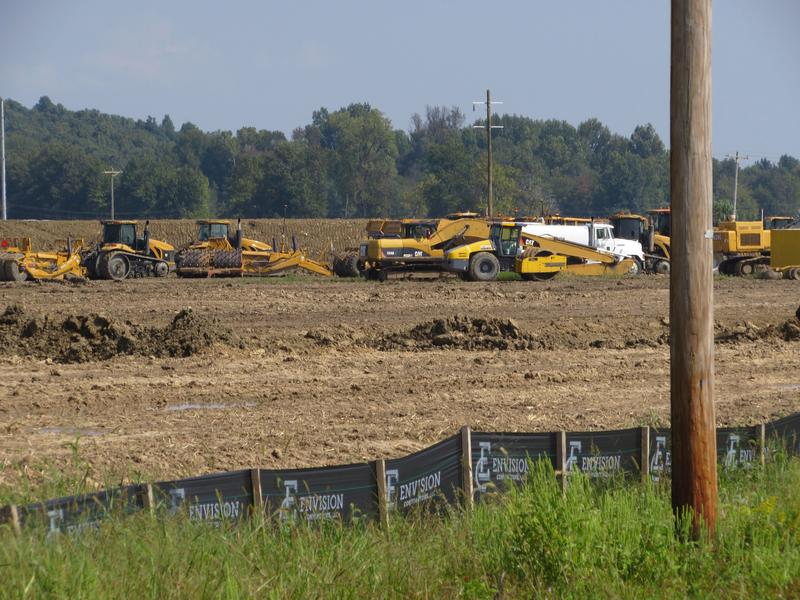 Construction vehicles at the Poplar Grove Mine site in McLean County
