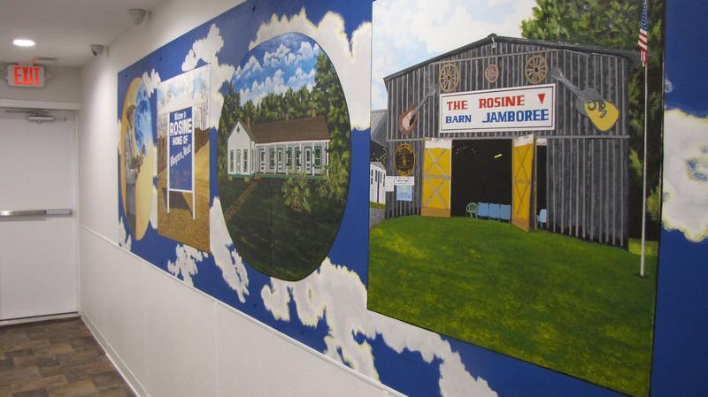 A mural in the new Rosine Community Internet Center highlights the town as the home of Bill Monroe and bluegrass music.