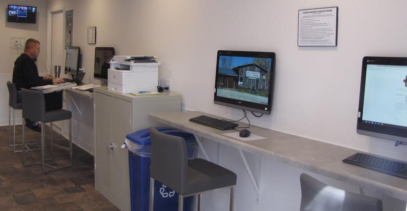 The Rosine Community Internet Center has four computer work stations.