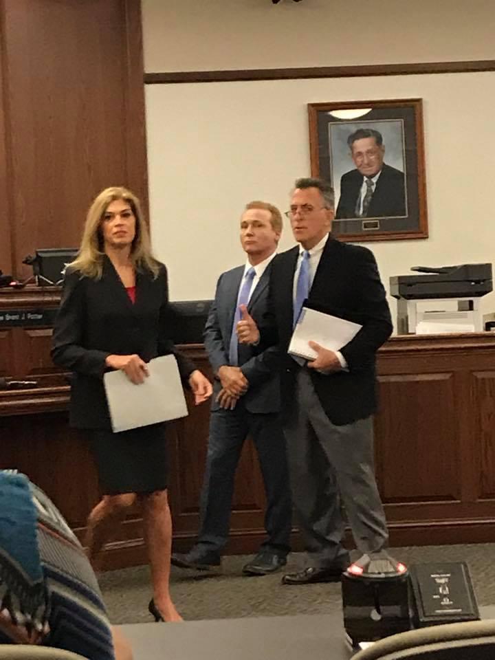 Rene Boucher (center) was in Warren District Court with his attorney Matt Baker and Warren County Attorney Amy Milliken.