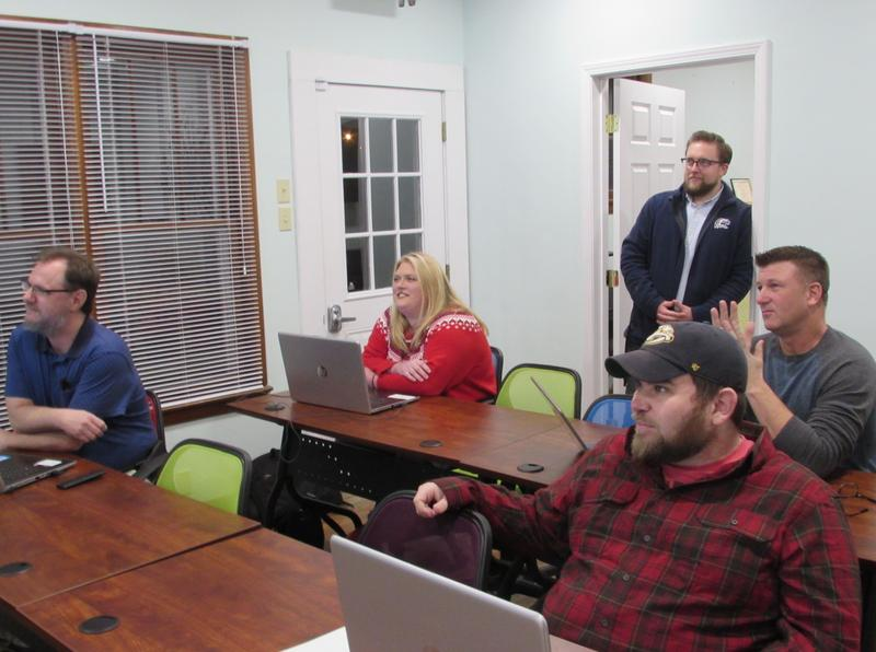 Ohio County residents in coding boot camp are, front row, left to right, Shawn Hobdy and Bradley Jackson. Back row, Cindy Sandefur and Steve Finch, and standing, Ohio County Economic Development Alliance Exectuive Director Chase Vincent.