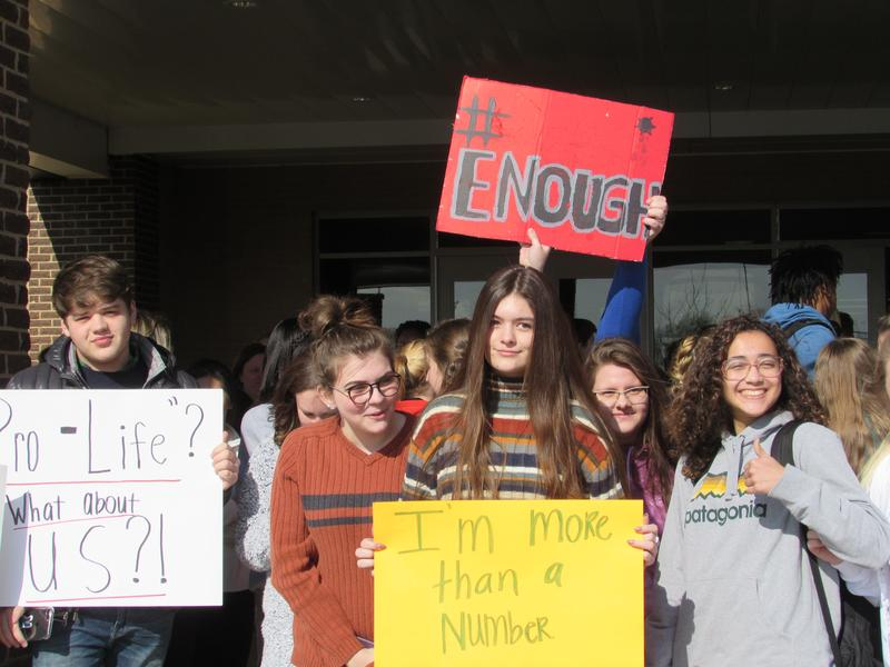 About 100 students at South Warren High School participated in the national walkout to push for stricter gun laws.