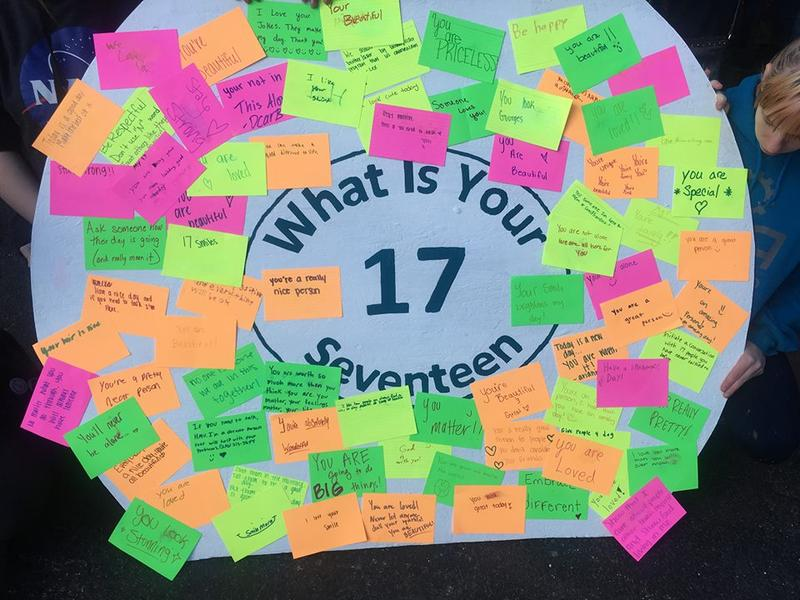 The 'What Is Your 17?' board created by students at the Innovation Academy in Owensboro.
