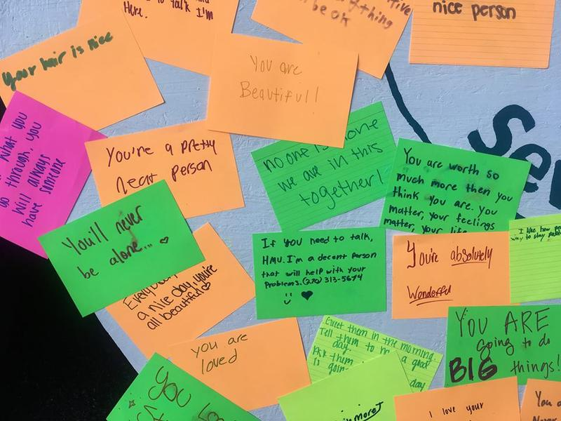Messages written on the 'What Is Your 17?' board at Owensboro Innovation Academy.