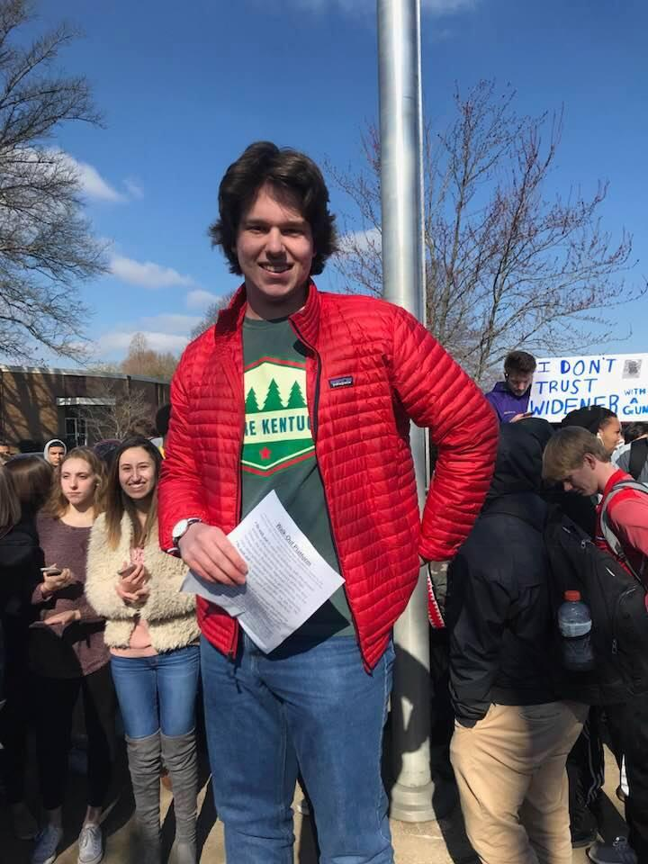 Jack Eason of the Young Democrats Club at BGHS led the rally that called for tighter gun control measures.