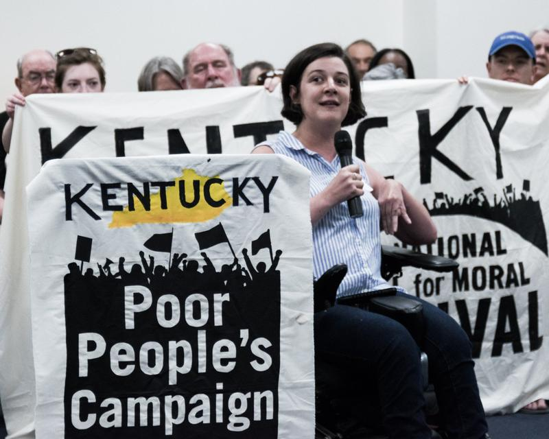 Amanda Stahl, of Independence Seekers in Louisville, with the Kentucky Poor People's campaign in Frankfort on May 14, 2018.