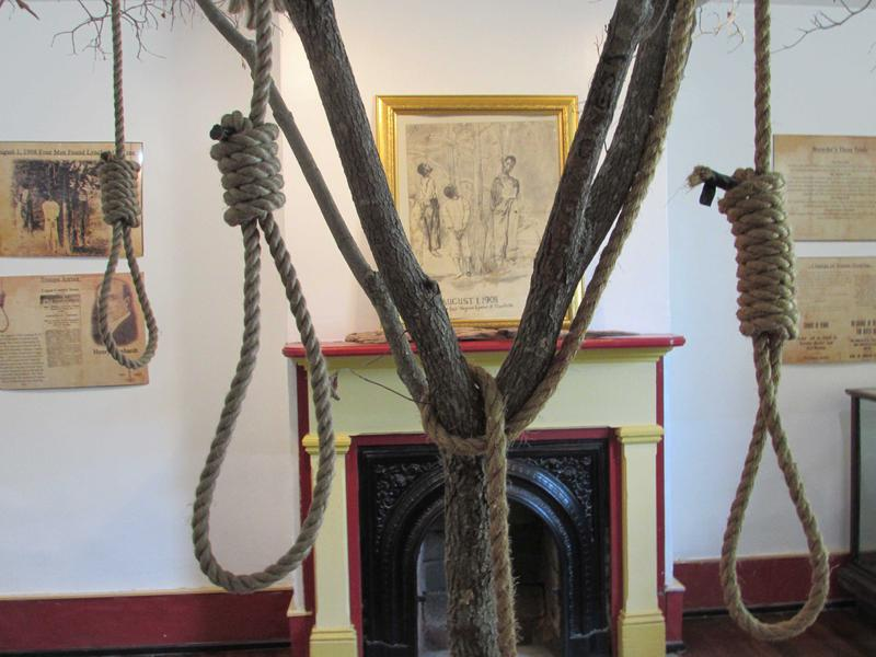 The lynching museum in Russellville, Kentucky has a tree created by a local artist to represent the 'hanging tree' where four black men were lynched for a crime they didn't commit.
