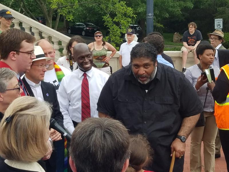 Rev. William Barber leads the Poor People's Campaign rally at the Kentucky State Capitol on June 13, 2018.