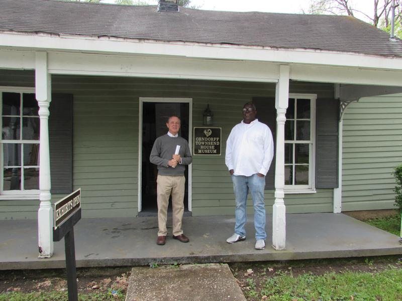 Joe Gran Clark, left, and Michael Morrow at the African American Heritage Center in Russellville, Kentucky, an historic district that includes the lynching museum.
