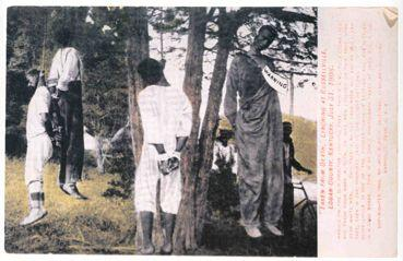 A postcard made from a photograph of the Aug. 1, 1908 lynching in Russellville, Kentucky caused the U.S. Post Office to ban postcards with these kinds of images. The photo was reportedly copyrighted by Jack Morton of Nashville, Tennessee.