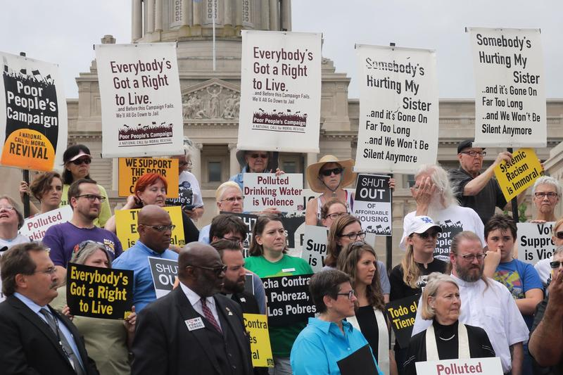 Demonstrators at the Poor People's Campaign rally at the Kentucky State Capitol June 13, 2018