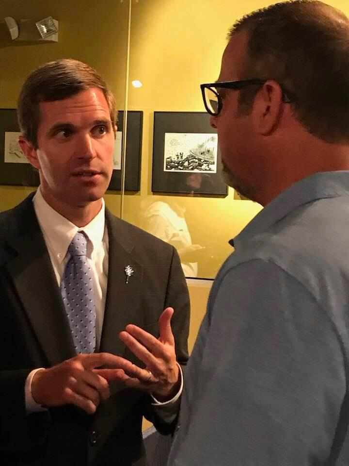 Democrat Andy Beshears met with supporters in Owensboro on a two-day tour through Kentucky to announce his 2019 bid for governor.