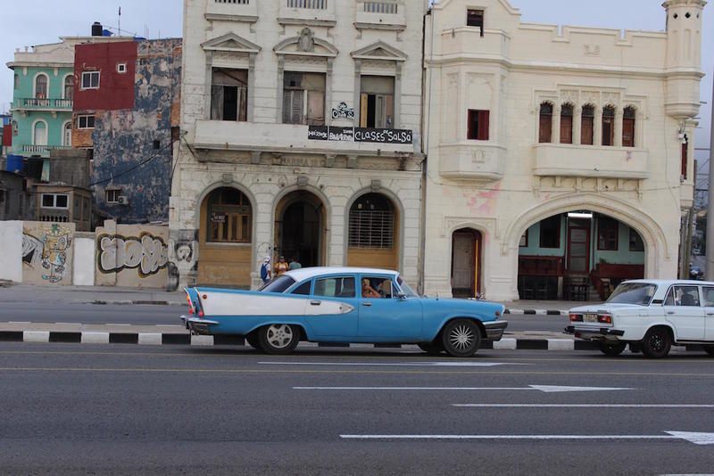 Across the street from the Malecón in Havana, there has been some development, but still hundreds of buildings in disrepair