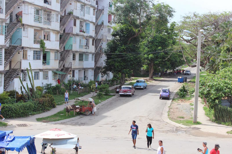 A street in Alamar, a neighborhood originally constructed as a Soviet-style housing project