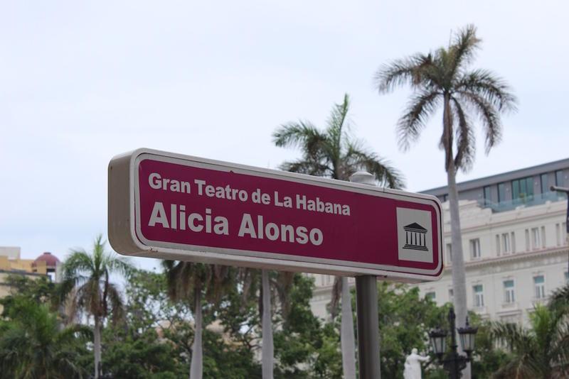 The sign outside El Gran Teatro de la Habana in Old Havana, named after legendary ballerina Alicia Alonso