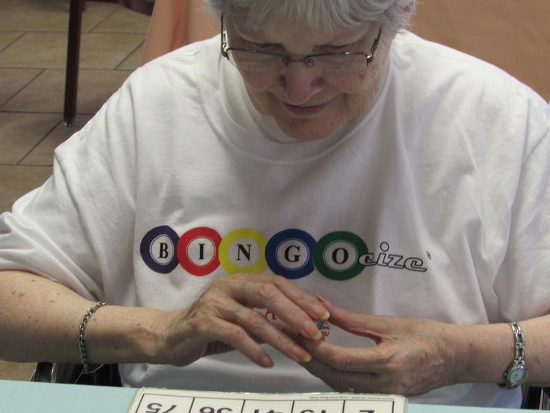Some residents at Greenwood Nursing and Rehabilitation Center wear their Bingocize t-shirts on the days they have the program.