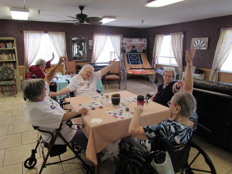 Stretching and other exercises are interspersed throughout bingo games at Bingocize at Greenwood Nursing and Rehabilitation Center in Bowling Green, Kentucky.