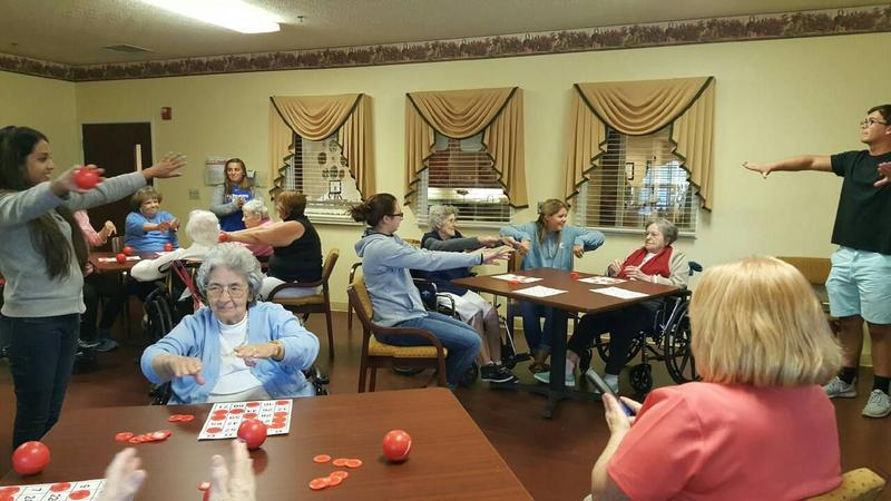 University of Kentucky students assist with Bingocize at a nursing home in Lexington, Kentucky.