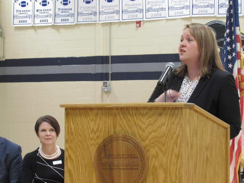 Director of the Division of Family Resource and Youth Services Melissa Goins announced the opening of 28 new Family Resource Centers at Moss Middle School in Warren County on Jan. 14.