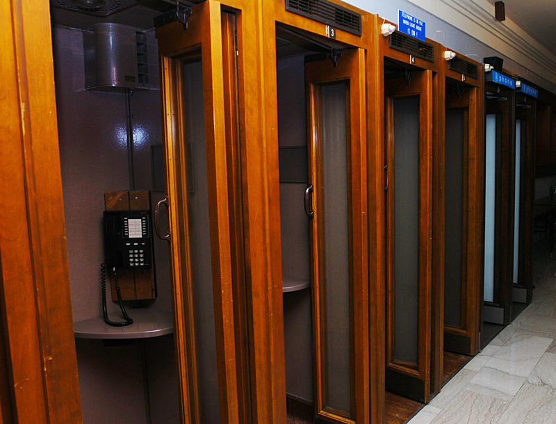 Phone booths in the side hallway of the Kentucky House of Representatives were used by lawmakers in past decades.