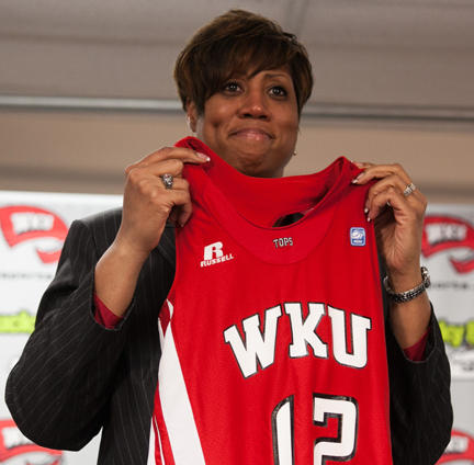 Michelle Clark-Heard at her introductory WKU news conference in March