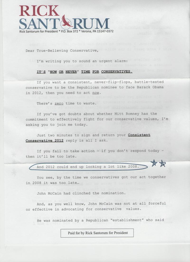 The first page of a letter sent by the Santorum campaign to Louisville Republicans