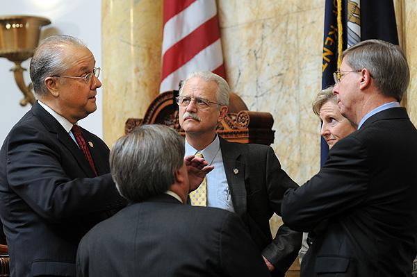 David Williams, at left, speaks with Senators last week in Frankfort
