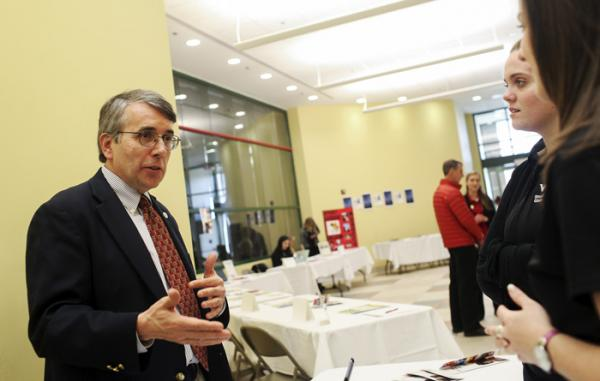 WKU's Diplomat in Residence, speaks with students at the WKU Study Abroad Fair