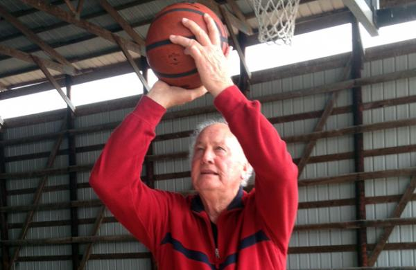 Darel Carrier at his family's basketball court in rural Warren County.