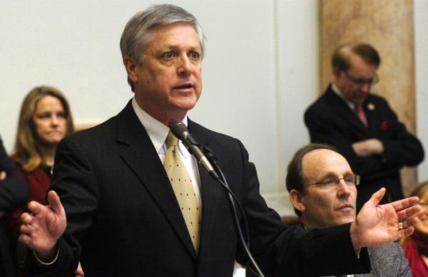 Rep. Rick Rand, D-Bedford, chair of the House Appropriations and Revenue Committee, presents the House version of the state budget before the Kentucky House.