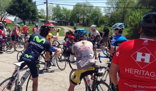 Military veterans stop for a lunch break in Cave City, Kentucky as part of a 450-mile bike journey across Kentucky into Tennessee