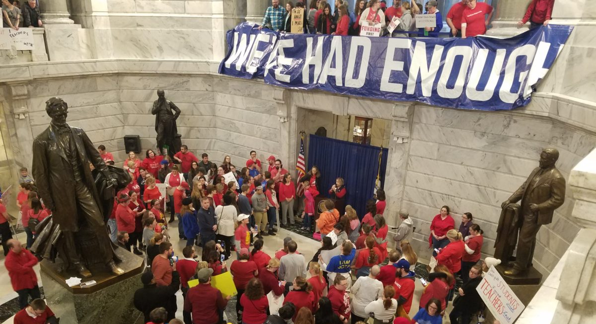 Kentucky teachers protest pension overhaul
