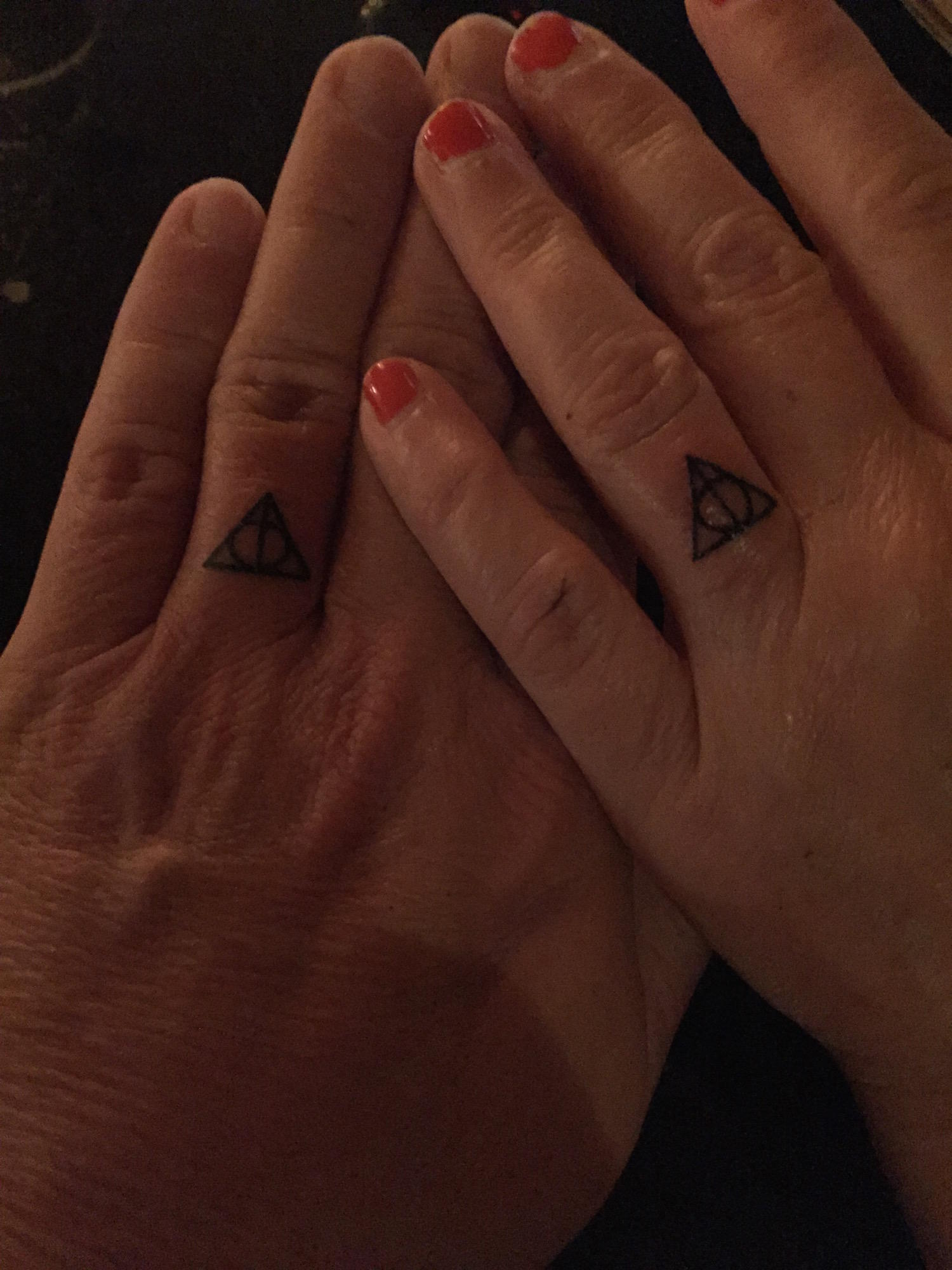 riff bonnie grice week wedding ink harry potter wedding bands We chose as our rings the Deathly Hallows from Harry Potter You PotterHeads will recognize the DH design the line within a circle within a triangle the