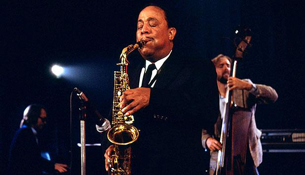 Lou Donaldson playing alto saxophone in concert.
