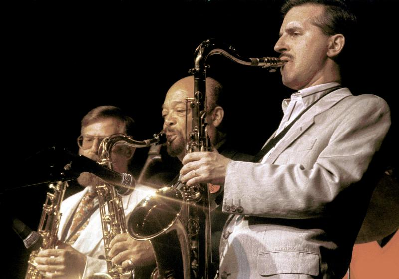 Scott Hamilton, Red Holloway and Lew Tabackin performing together in 1987.