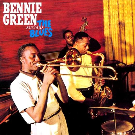 "Bennie Green, pictured on the album cover of his ""SwingsThe Blues"" by Blue Moon Jazz."
