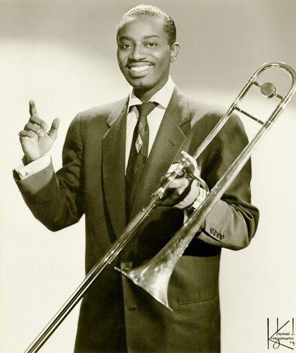 Bennie Green, pictured holding his trombone in publicity photo by James J. Kreigman, provided by Uptown Records.