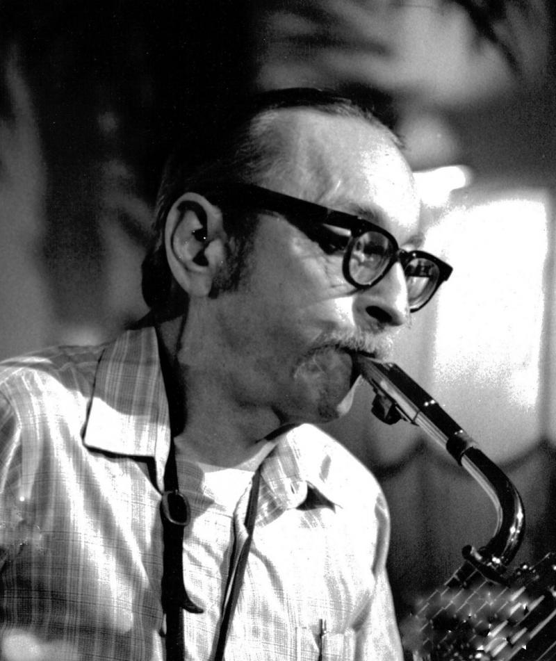 Pepper Adams playing baritone saxophone.