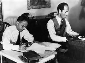 George and Ira Gershwin in their office.