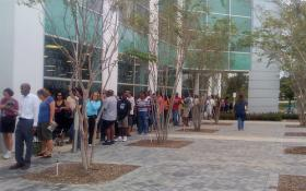 Line of early voters in 2008 in Plantation.  This year, early voting starts on Saturday.