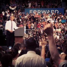 President Barack Obama speaking at the Bank United Center at The University of Miami on October 11, 2012.