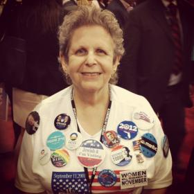 Doris Smith, a Jewish voter from Boynton Beach, was volunteering at Lynn University during the third and final presidential debate in Boca Raton. She's voting for President Barack Obama.