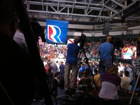 Former Mass. Gov. Mitt Romney speaks to a crowd at the BankUnited Center in Coral Gables.